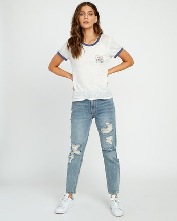 3 Offset Burnout Ringer T-Shirt White W437UROF RVCA