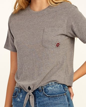 3 Morning VA Knotted T-Shirt Grey W438TRMO RVCA