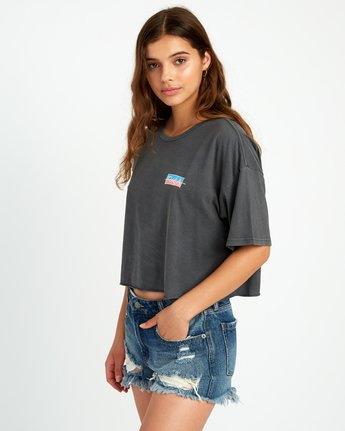 2 Split Crawl Cropped T-Shirt Black W441URSP RVCA