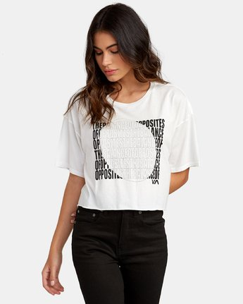 1 Block Out Cropped T-Shirt White W441WRBL RVCA