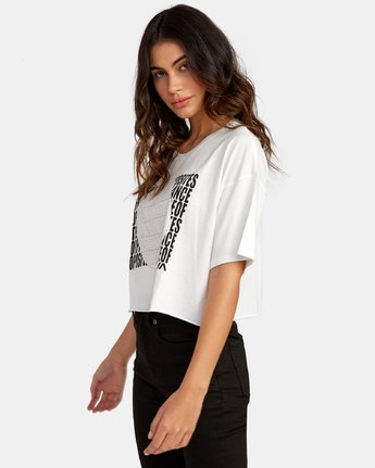 3 Block Out Cropped T-Shirt White W441WRBL RVCA