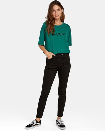 3 Big RVCA Cropped T-Shirt Green W441WRBR RVCA