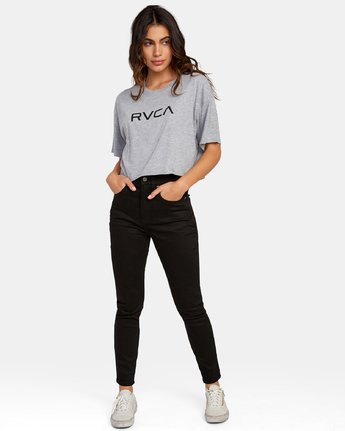 3 Big RVCA Cropped T-Shirt Grey W441WRBR RVCA