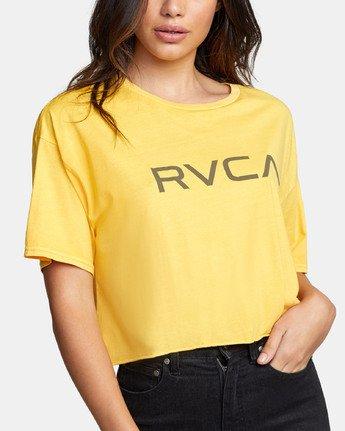 4 BIG RVCA CROP T-SHIRT Yellow W441WRBR RVCA