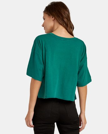 1 Big RVCA Cropped T-Shirt Green W441WRBR RVCA