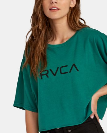 2 Big RVCA Cropped T-Shirt Green W441WRBR RVCA