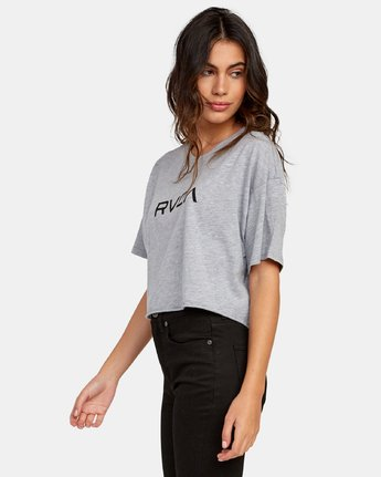 1 Big RVCA Cropped T-Shirt Grey W441WRBR RVCA