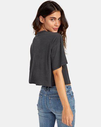 2 Out There Cropped T-Shirt Black W441WROU RVCA