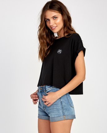 2 Happy Sad Cropped T-Shirt Black W445VRHA RVCA