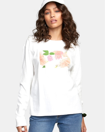 5 FLORA LONG SLEEVE T-SHIRT White W4523RFL RVCA