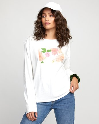 0 FLORA LONG SLEEVE T-SHIRT White W4523RFL RVCA