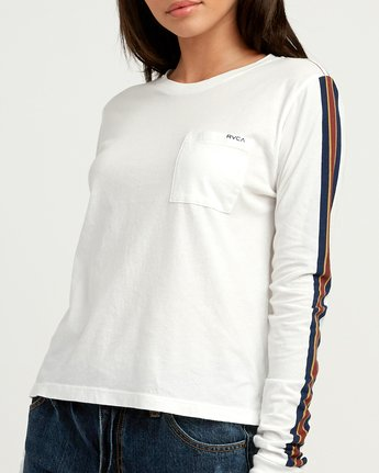 3 Day Sleeves Striped Long Sleeve T-Shirt White W456QRDS RVCA
