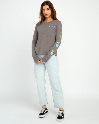 5 KLW Cacti Long Sleeve Pocket T-Shirt Grey W456URCA RVCA
