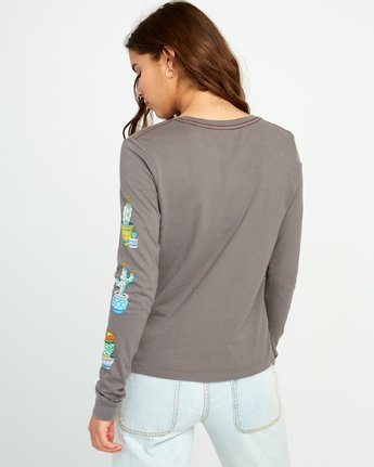 3 KLW Cacti Long Sleeve Pocket T-Shirt Grey W456URCA RVCA