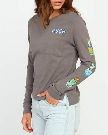 4 KLW Cacti Long Sleeve Pocket T-Shirt Grey W456URCA RVCA