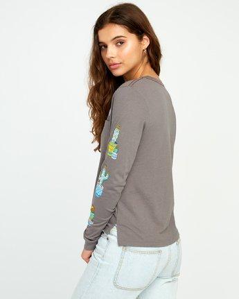 2 KLW Cacti Long Sleeve Pocket T-Shirt Grey W456URCA RVCA
