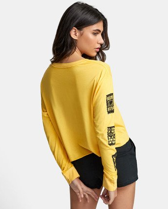4 LA ROSA LONG SLEEVE BOYFRIEND T-SHIRT Yellow W4671RLR RVCA