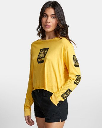 2 LA ROSA LONG SLEEVE BOYFRIEND T-SHIRT Yellow W4671RLR RVCA