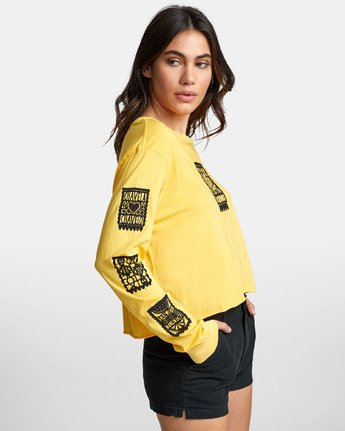 3 LA ROSA LONG SLEEVE BOYFRIEND T-SHIRT Yellow W4671RLR RVCA