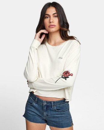 0 THORNS LONG SLEEVE BOYFRIEND T-SHIRT Brown W4671RTH RVCA