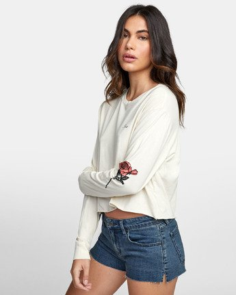 2 THORNS LONG SLEEVE BOYFRIEND T-SHIRT Brown W4671RTH RVCA