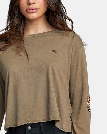 4 THORNS LONG SLEEVE BOYFRIEND T-SHIRT Green W4671RTH RVCA