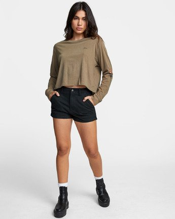 1 THORNS LONG SLEEVE BOYFRIEND T-SHIRT Green W4671RTH RVCA