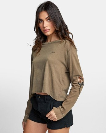 2 THORNS LONG SLEEVE BOYFRIEND T-SHIRT Green W4671RTH RVCA