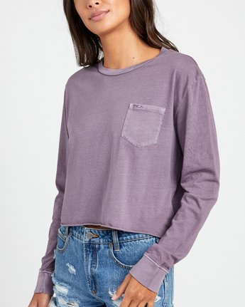 2 PTC LONG SLEEVE BOYFRIEND T-SHIRT Grey W4673RPT RVCA