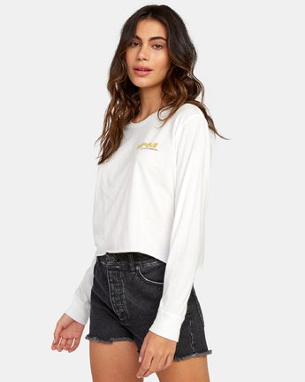 1 Breezy Long Sleeve Boyfriend T-Shirt White W467WRBR RVCA