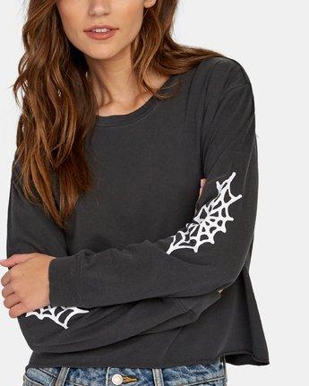 4 Cobbweb Long Sleeve Boyfriend T-Shirt Black W467WRCO RVCA