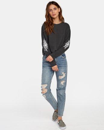 1 Cobbweb Long Sleeve Boyfriend T-Shirt Black W467WRCO RVCA