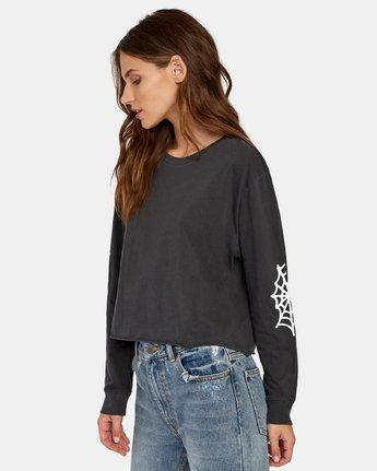 2 Cobbweb Long Sleeve Boyfriend T-Shirt Black W467WRCO RVCA