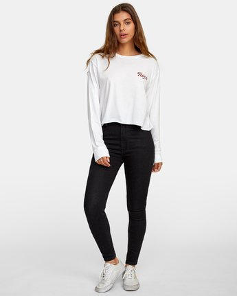 3 Decca Long Sleeve Boyfriend T-Shirt White W467WRDE RVCA