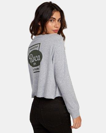 3 Decca Long Sleeve Boyfriend T-Shirt Grey W467WRDE RVCA