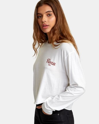 1 Decca Long Sleeve Boyfriend T-Shirt White W467WRDE RVCA