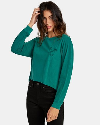 2 Paloma Long Sleeve Boyfriend T-Shirt Green W467WRPA RVCA