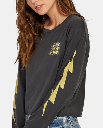 4 Voltage Long Sleeve Boyfriend T-Shirt Black W467WRVO RVCA
