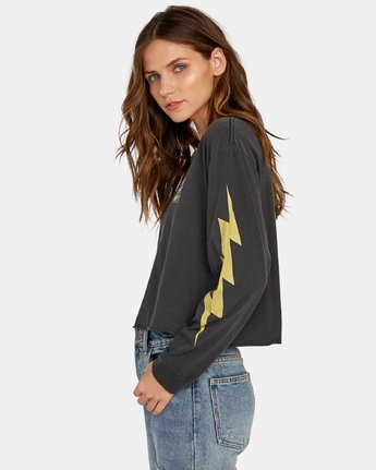 2 Voltage Long Sleeve Boyfriend T-Shirt Black W467WRVO RVCA