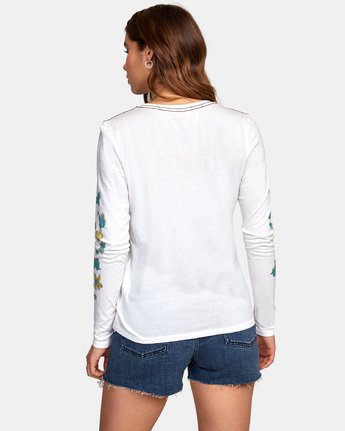 3 HULA HALFTONE LONG SLEEVE T-SHIRT White W4681RHH RVCA