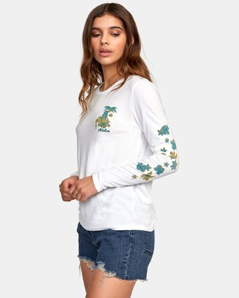 1 HULA HALFTONE LONG SLEEVE T-SHIRT White W4681RHH RVCA