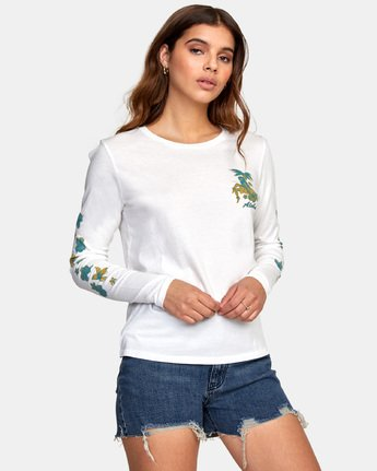 2 HULA HALFTONE LONG SLEEVE T-SHIRT White W4681RHH RVCA
