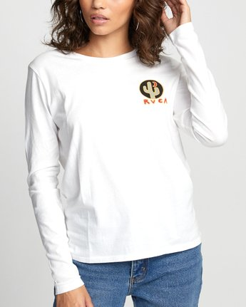 5 CACTUS NIGHTS LONG SLEEVE T-SHIRT White W4683RCN RVCA