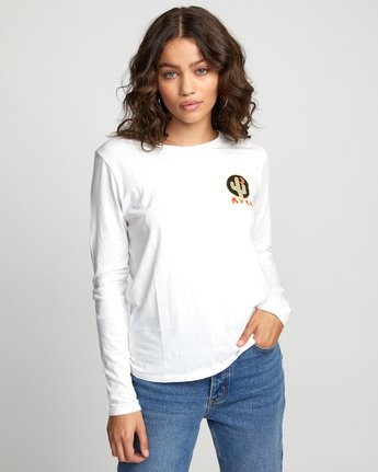 0 CACTUS NIGHTS LONG SLEEVE T-SHIRT White W4683RCN RVCA