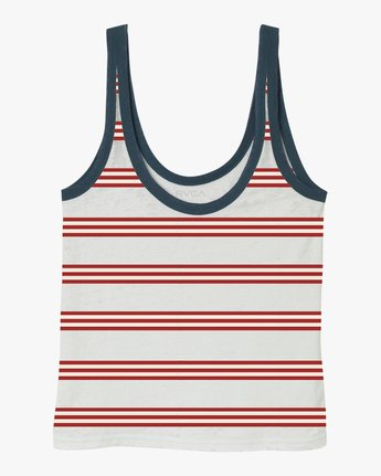 5 Ferris Striped Ringer Tank Top White W471TRFE RVCA