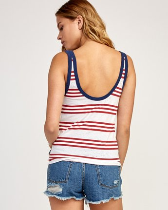 2 Ferris Striped Ringer Tank Top White W471TRFE RVCA