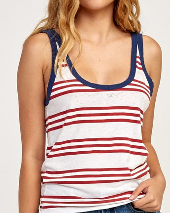 3 Ferris Striped Ringer Tank Top White W471TRFE RVCA