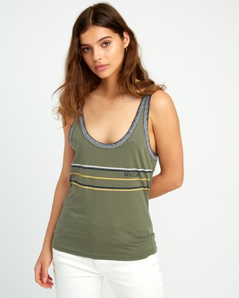 1 Another Stripe Ringer Tank Top Green W471URAN RVCA