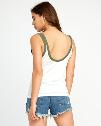 2 Another Stripe Ringer Tank Top White W471URAN RVCA