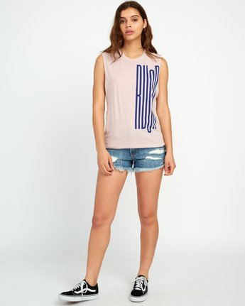 3 Stretcher Relaxed Muscle Tank Top Pink W473URST RVCA